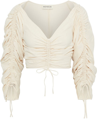 Nicholas Cropped Ruched Silk And Linen-blend Top