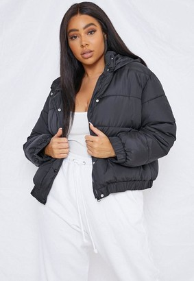 Missguided Size Black Hooded Puffer Jacket