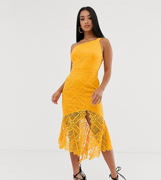 ASOS DESIGN Petite lace one shoulder scallop pephem midi dress
