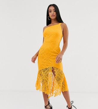 Asos DESIGN Petite lace one shoulder scallop pephem midi dress-Orange