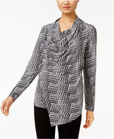 Alfani Asymmetrical-Zip Draped Top, Only at Macy's