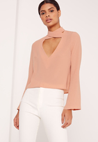 Missguided Flared Sleeve Cross V-Neck Blouse Nude