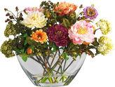 Asstd National Brand Nearly Natural Peony Silk Flower Arrangement with Glass Vase