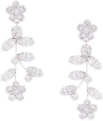 Jennifer Behr Andrea floral crystal-drop earrings