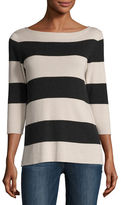 Neiman Marcus Superfine Striped Boat-Neck Pullover