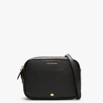 Lulu Guinness Lip Pin Cole Black Leather Cross-Body Bag
