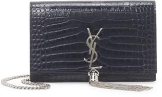 Saint Laurent Kate Tassel Croc-Embossed Leather Shoulder Bag