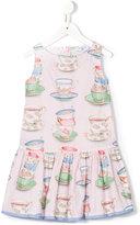 MonnaLisa tea cup print dress - kids - Cotton - 2 yrs