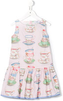 MonnaLisa tea cup print dress - kids - Cotton - 5 yrs