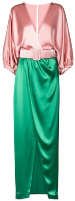 Costarellos Lulie belted satin gown