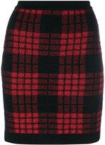 Balmain plaid high waist skirt - women - Polyamide/Viscose/Mohair/Wool - 36