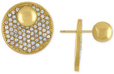 Rachel Roy Gold-Tone Pavé Disc Front and Back Earrings