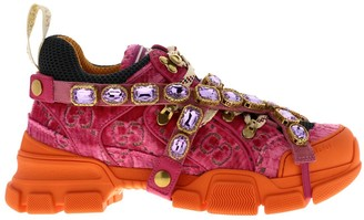 Gucci Flashtrek Lace-up Sneakers In Velvet And Macro-net With Removable Rhinestone Jewels
