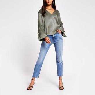 River Island Womens Green v neck jacquard blouse