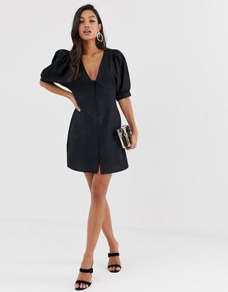 Asos Design DESIGN plunge neck casual button through mini skater dress-Black