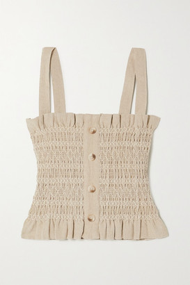 HOLZWEILER Ruffled Shirred Cotton And Linen-blend Top - Beige