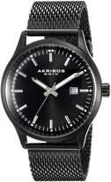 Akribos XXIV Men's AK901BK Round Radiant Sunburst Dial Three Hand Quartz Movement Bracelet Watch
