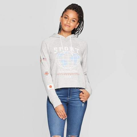 Grayson Threads Women's Sport Long Sleeve Cropped Hoodie Juniors') - Heather Gray