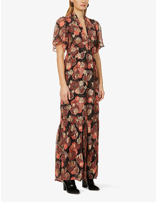 BA&SH Hide floral-embroidered woven midi dress