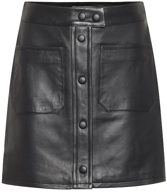 Frame Patch Pocket leather miniskirt