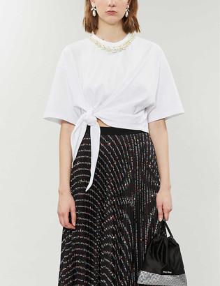 Miu Miu Faux-pearl-trim cotton-jersey T-shirt