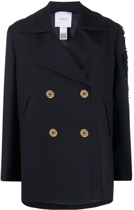 Patou Double-Breasted Twill Peacoat