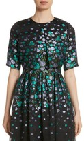 Lela Rose Women's Floral Matelasse Crop Jacket