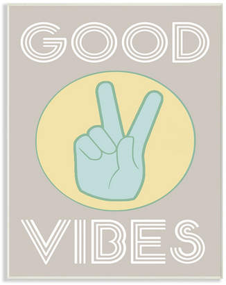 """Stupell Industries Good Vibes Peace Hand Wall Plaque Art, 10"""" x 15"""""""