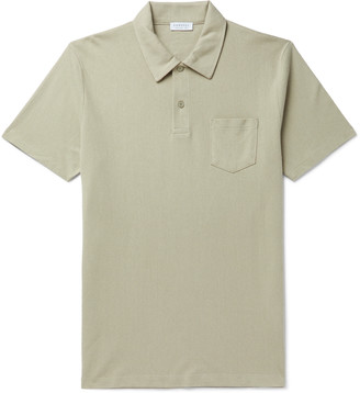 Sunspel Riviera Slim-Fit Melange Cotton-Mesh Polo Shirt