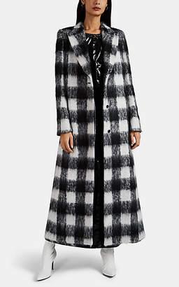 Maison Margiela Women's Checked Brushed Mohair-Blend Coat - Black