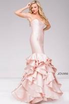 Jovani Strapless Long Mermaid Tiered Prom Dress 41622