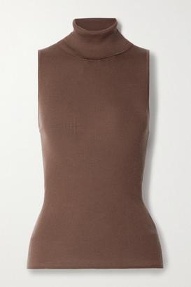 Tibi Cutout Ribbed Wool Turtleneck Top - Chocolate