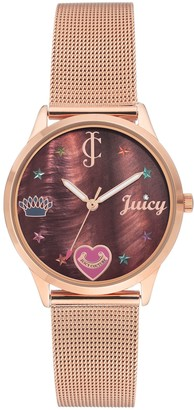 Juicy Couture Rosetone Mesh Bracelet w/ Brown MOP Dial Watch