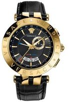 Versace V-Race Goldtone Stainless Steel Leather Strap GMT & Alarm Watch
