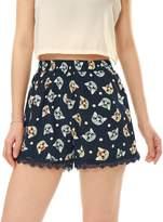 Allegra K Women Cat Head Lace Trim Elastic Waist Shorts L Blue