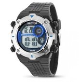 Sector Men's Digital Watch with LCD Dial Digital Display and Black PU Strap R3251172030