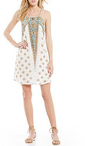 O'Neill Shawn Border Printed Criss-Cross Back Swing Dress