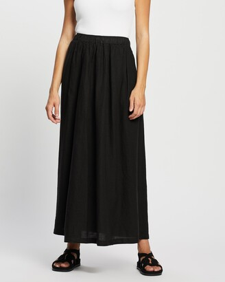 Assembly Label - Women's Black Maxi skirts - Noma Linen Skirt - Size 6 at The Iconic