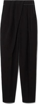 Proenza Schouler Draped-Front Trousers with Topstitching