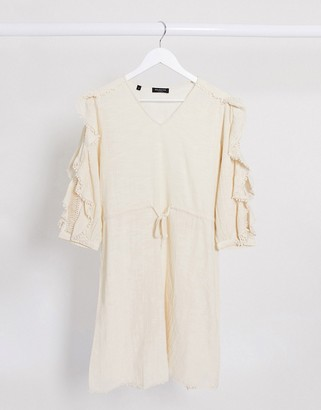 Selected ruffle sleeve mini dress with tie waist in cream