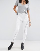 Asos RIDLEY Skinny Jeans In White With Cutwork Detail