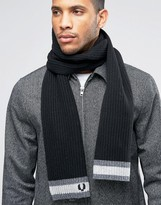 Fred Perry Tipped Scarf In Lambswool