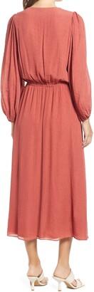 Halogen Long Sleeve Chiffon Midi Dress