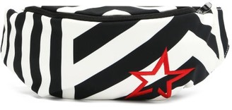 Perfect Moment Star-embroidered Striped Soft-shell Belt Bag - Black White