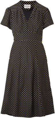 HVN Polka-dot Silk Crepe De Chine Dress