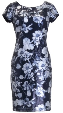 Connected Sequin Floral Sheath Dress
