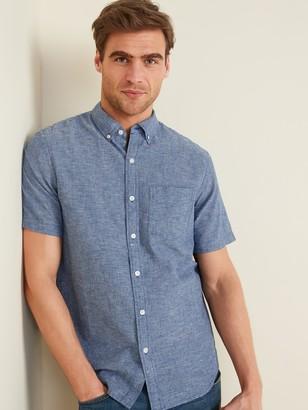 Old Navy Relaxed-Fit Striped Linen-Blend Short-Sleeve Shirt for Men