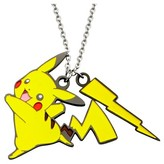 "Pokemon Women's Pikachu Lightning Bolt Stainless Steel and Enamel Pendant with Chain (18"" + 2"" ext.)"