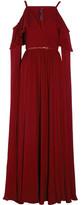Elie Saab Ruffled Cutout Silk-chiffon Gown - Burgundy