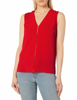 T Tahari Women's Maura V-Neck Sleeveless Blouse